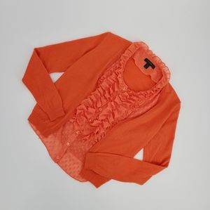 J. Crew Merino Wool Ruffle Sheer Blouse Attached